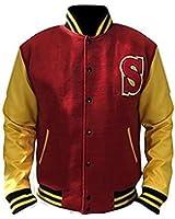 Urbanoutfitters Smallville Clark Kent Crows Varsity Letterman Fleece Jacket With Leather Sleeves