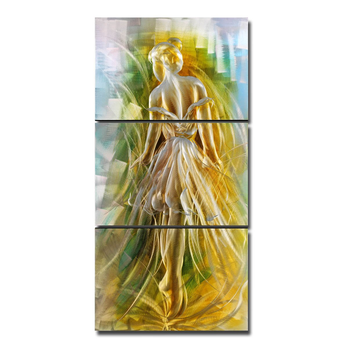 Tooarts Original Ballet Girl Modern Aluminum Wall Art 3-Panels Hanging Artwork for Home Decoration 24''x47'' by Tooarts