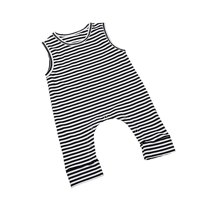 9b401ac91 ITFABS Newborn Baby Boy Girl Cute Striped Jumpsuit Sleeveless Romper Outfit  Clothes (70(0