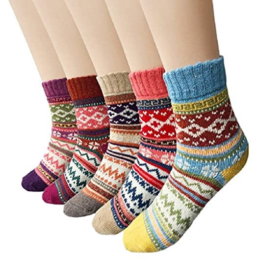 Winter Socks 5 Pairs Vintage Style Chunky Knit Wool Cashmere Thick