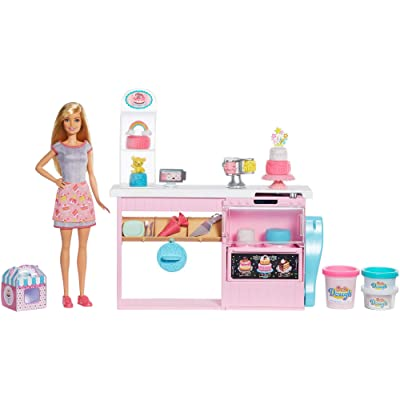 Barbie Cake Decorating Playset with Blonde Doll, Baking Island with Oven, Molding Dough and Toy Icing Pieces for Kids 4 to 7 Years Old: Toys & Games