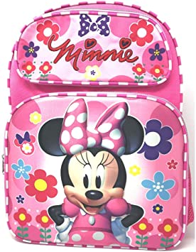 "Disney Minnie Mouse Allover Print 16/"" Girls Large School Backpack-Pink"