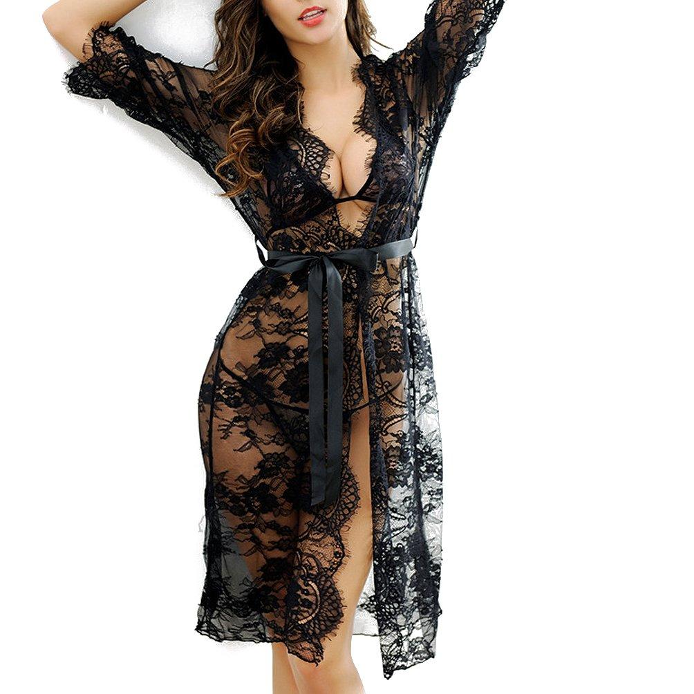 Wbeng Women's Lash Lace Kimono Robe Babydoll 3/4 Sleeves Lingerie Lace up Mesh Nightgown Set 2018WB820518K