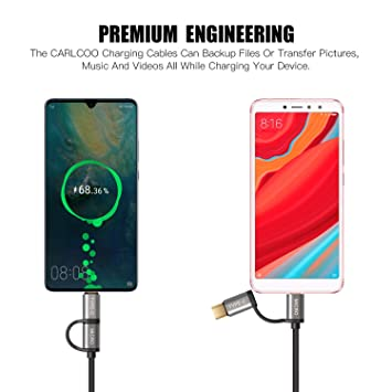 Cable USB C, 2 in 1 USB C y Micro USB Cable Carga&Sync Cable Compatible Galaxy S9/S9 Plus/S8/S8 Plus/Note 8, Huawei P20/Mate 10/P 10/ P10 Pro y Dispositivos ...