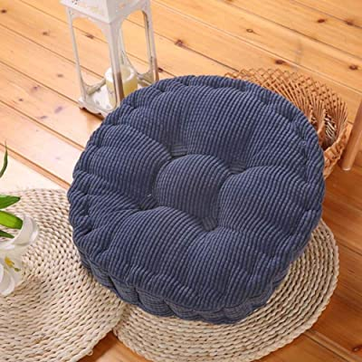 CAIXIN Round Pillow Chair Cushion,Thick Tatami Cushion,Reversible Soft Floor Mat,Indoor Outdoor Pad Home Office Patio Dining Chair Blue D40cm(16inch): Home & Kitchen