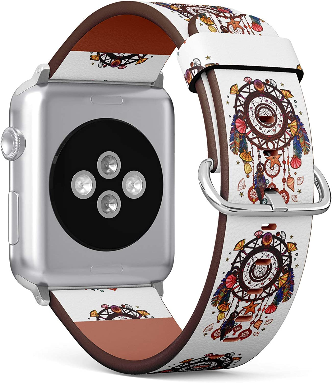 (Tribal Dream Catcher) Patterned Leather Wristband Strap for Apple Watch Series 4/3/2/1 gen,Replacement for iWatch 42mm / 44mm Bands