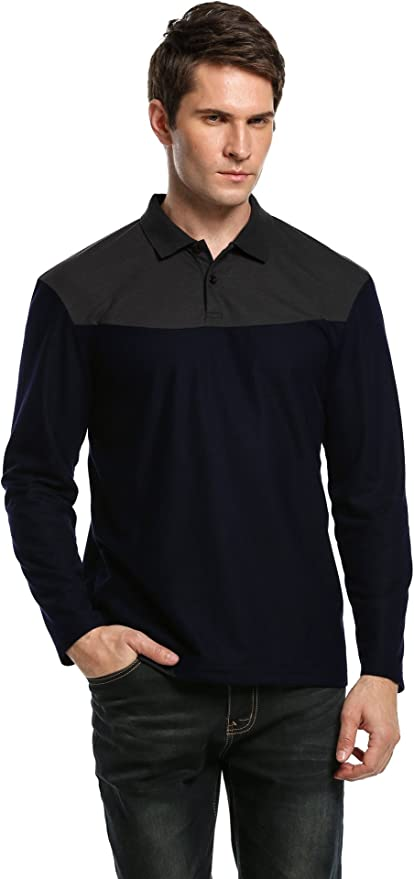Coofandy Men's Turn Down Collar Long Sleeve Loose Casual Polo Shirt Tops(Navy Blue,S)