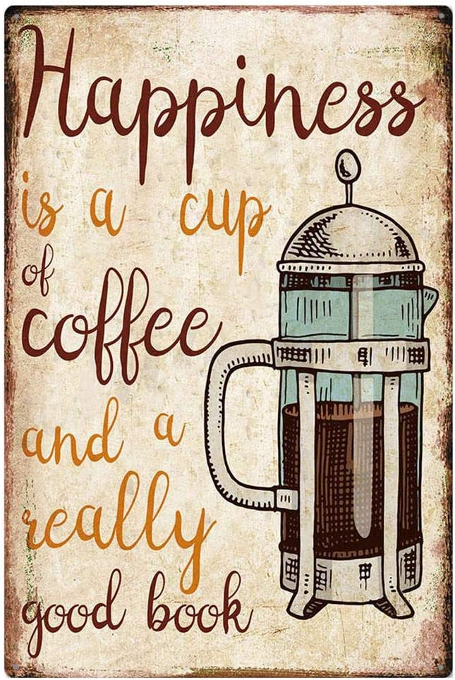 Happiness is a Cup of Coffee Doitsa 1x Vintage Plaque Metallique Coffee Affiche Peinture Art D/écoratif R/étro Poster /Étain Plaque en M/étal Plaque Murale pour Restaurant Caf/é