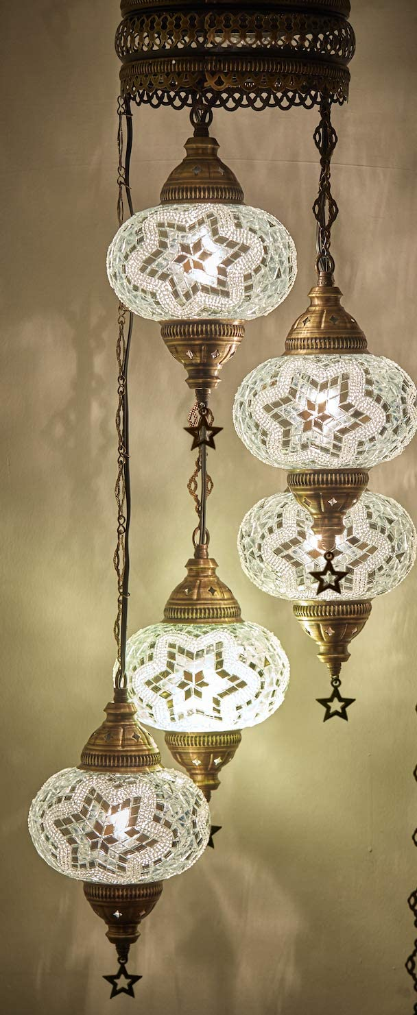 Choose from 12 Designs Turkish Moroccan Mosaic Glass Chandelier Lights Hanging Ceiling Lamps 5 Globes 7″ a