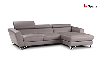 Sparta Fabric Sectional Sofa By Nicoletti (Light Grey)