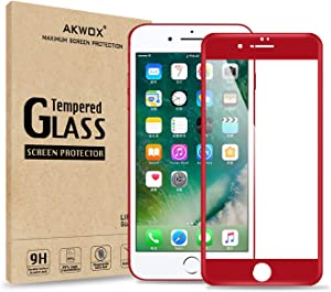 (Pack of 2) Compatible with for iPhone 7 Plus Screen Protector, Akwox Full Cover iPhone 7 Plus Tempered Glass Screen Protector with ABS Curved Edge Frame, Anti-Fingerprint HD Screen Protector Film for iPhone 7 Plus (Red)
