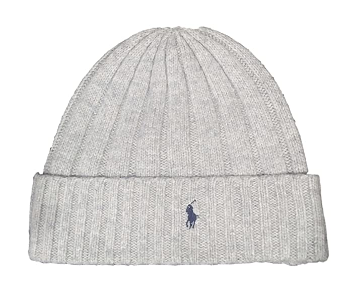 a1143325bc6b3f Image Unavailable. Image not available for. Colour: Polo Ralph Lauren  Unisex Lambswool Skullie Cap Light Gray Beanie Hat Wool/Nylon OS