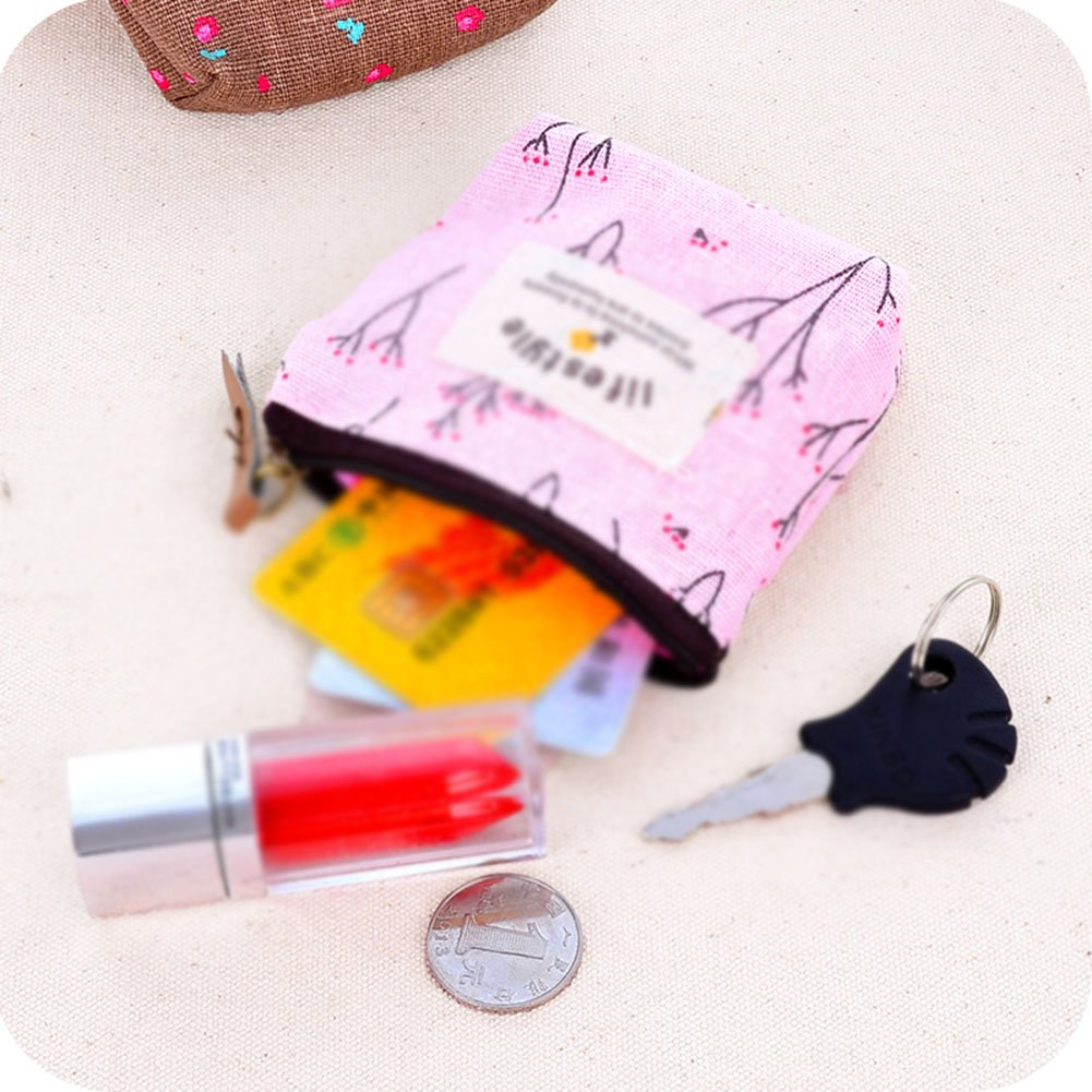 Tela viola 9.5 x11cm Wdoit mini canvas portamonete Cash Bags portachiavi in borsa Change portamonete di pacchetto viaggio Sundries Storage Bag 9.5/x11/cm Purple