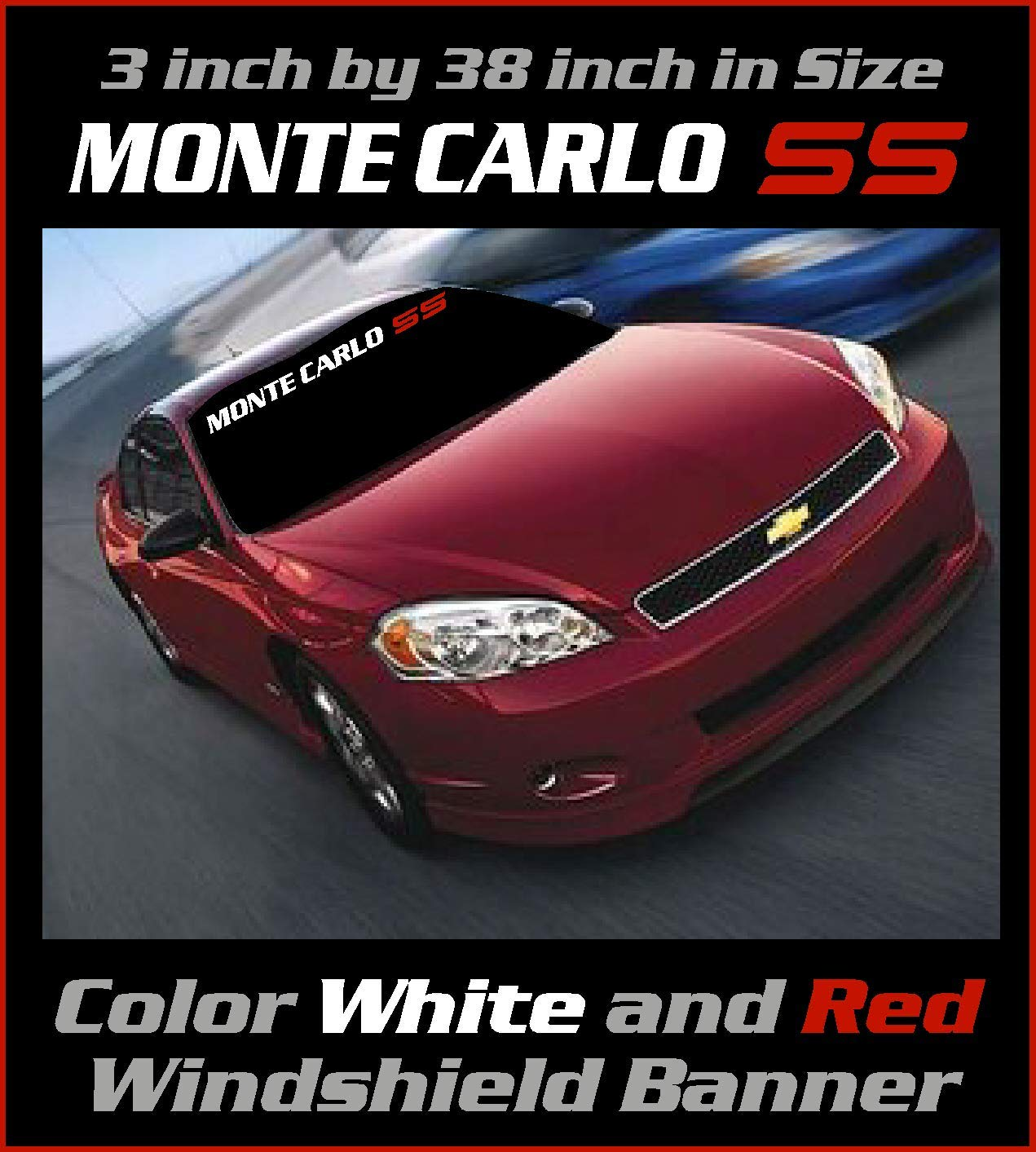 Sticker 3.5 inch by 38 inch White and Red Monte Carlo SS Windshield Banner Graphic Emblem Decal