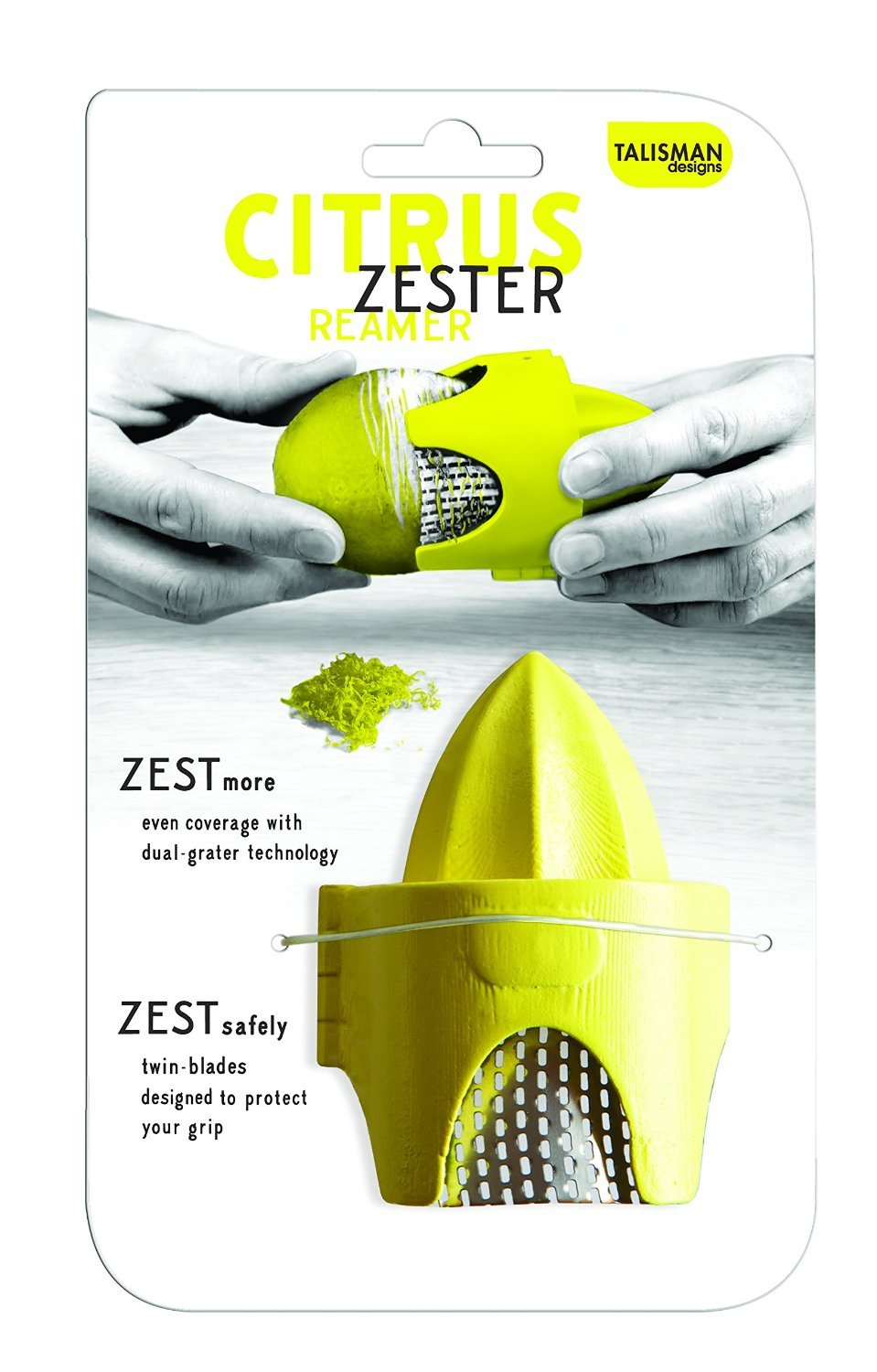 Talisman Designs Citrus Zester & Reamer, for Lemons and Limes, BPA-free Plastic and Stainless Steel, 2-Pack by Talisman Designs