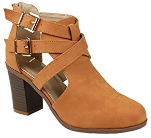 Women Vermont Camel Golden Buckle Decor Cross Strap Side Hollow Chunky Stacked Heel Ankle Boots-9