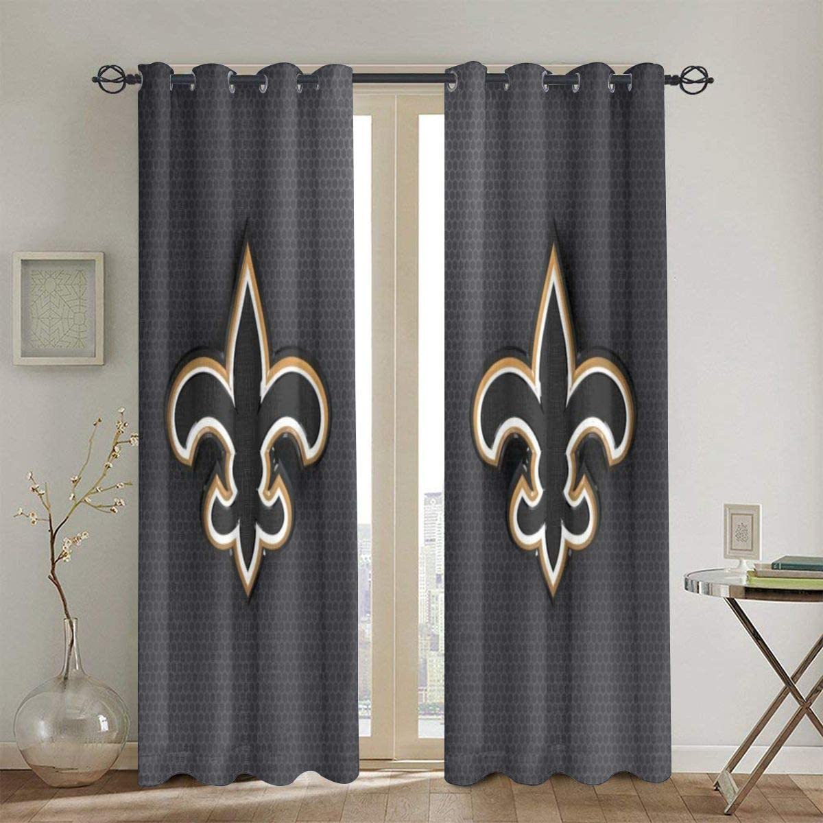 RWNFA Gold Fleur-de-lis Blackout Window Curtain Panels 48