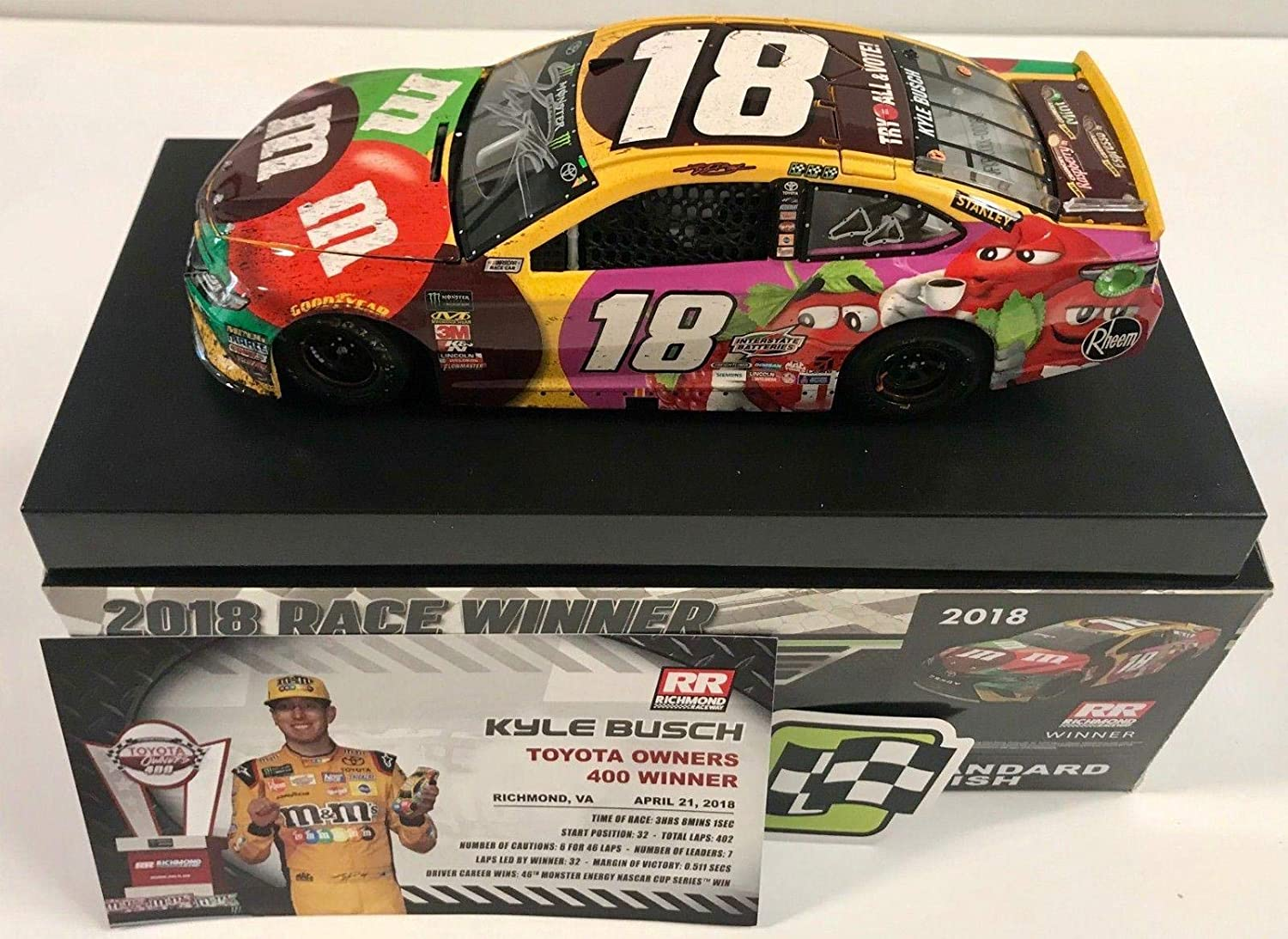 00bb90cfdd0 2018 Kyle Busch M M s Vote Richmond Race WIN Signed Auto 1 24 Diecast Car  COA - Autographed Diecast Cars at Amazon s Sports Collectibles Store