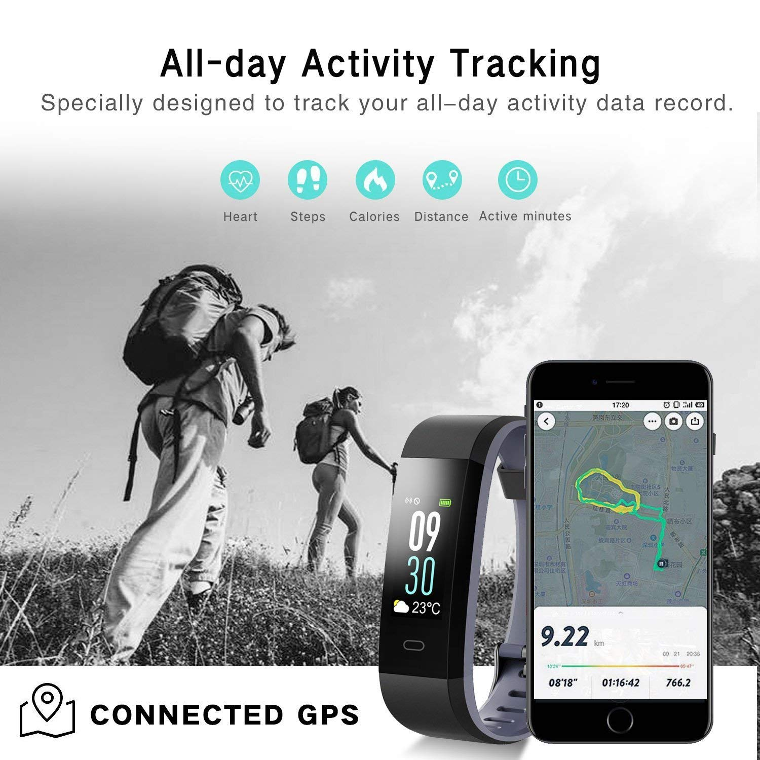 """VeeEx Fitness Tracker Pedometer Sleeping /& GPS Tracking for Android /& iOS Smart Phones Sleeping /& GPS Tracking for iPhone /& Samsung Mobile Devices Bluetooth 4.0 Smart Bracelet with 0.96/""""OLED Color Screen and IP67 Waterproof Heart Rate Monitor"""