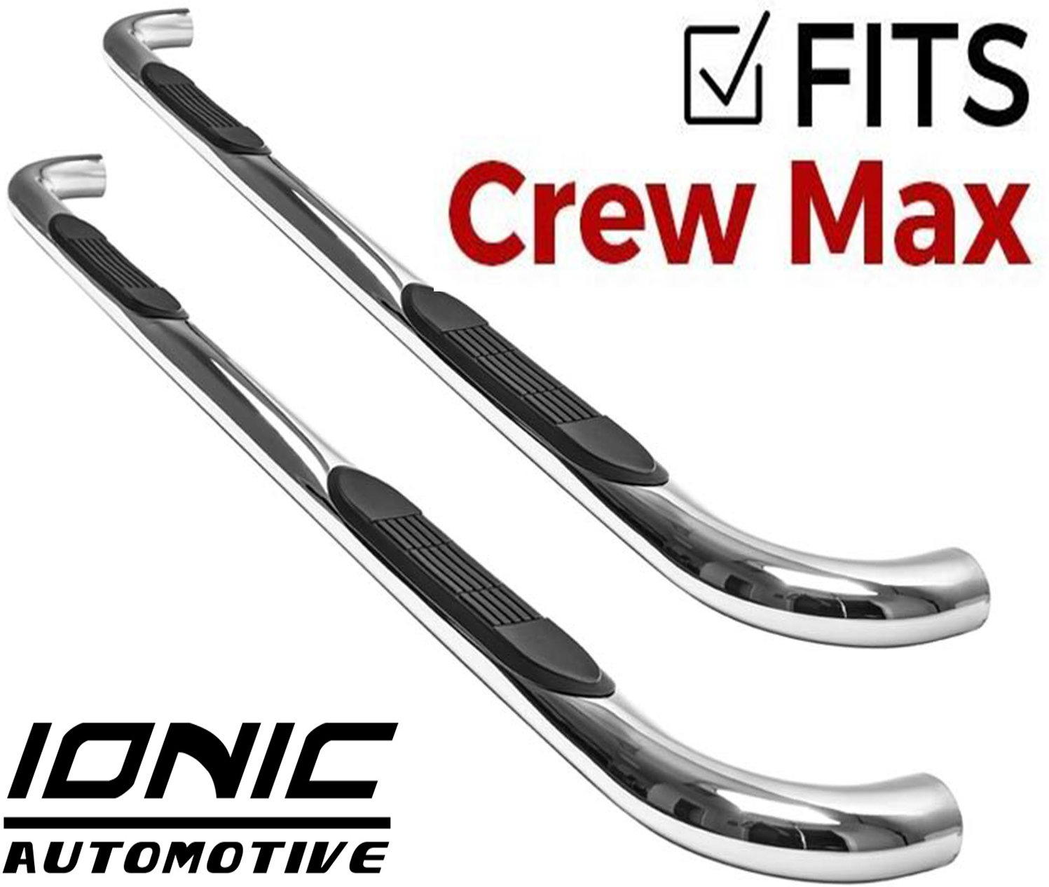 fits Ionic 3 Stainless 233127 2007-2018 Toyota Tundra CrewMax Only Nerf Bars Side Steps