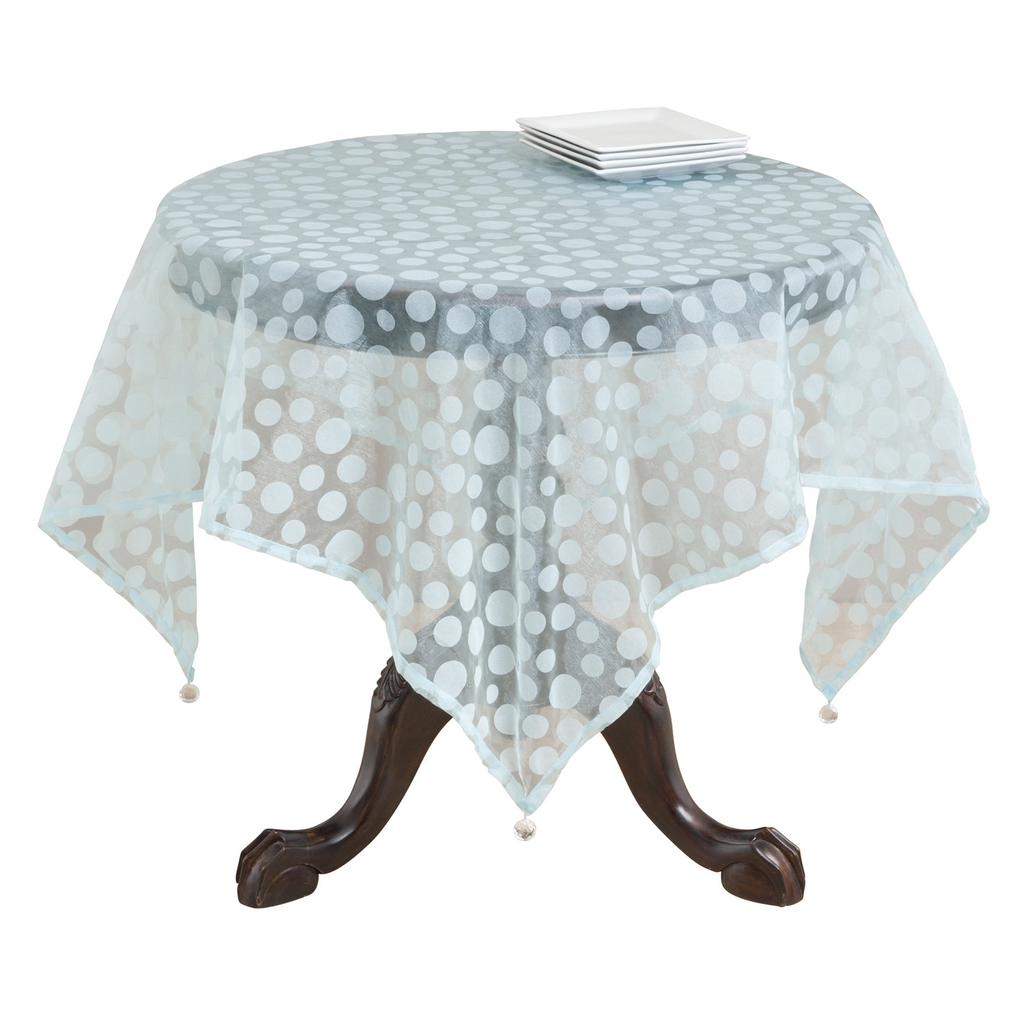SARO LIFESTYLE 1893 Flocked Dots Square Table Topper, 54-Inch, Aqua