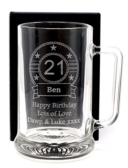 60th 50th 40th Birthday Engraved Glass Beer Stein 21st |18th F