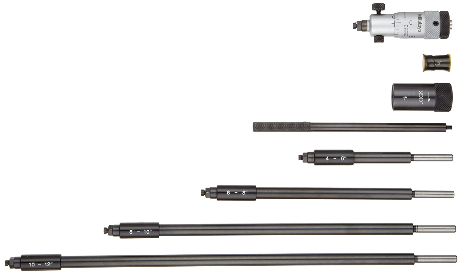 1-1.25 Range Carbide Tipped Face Mitutoyo 141-004 Vernier Inside Micrometer 0.001 Graduation +//-0.000265 Accuracy Interchangeable Rod Type