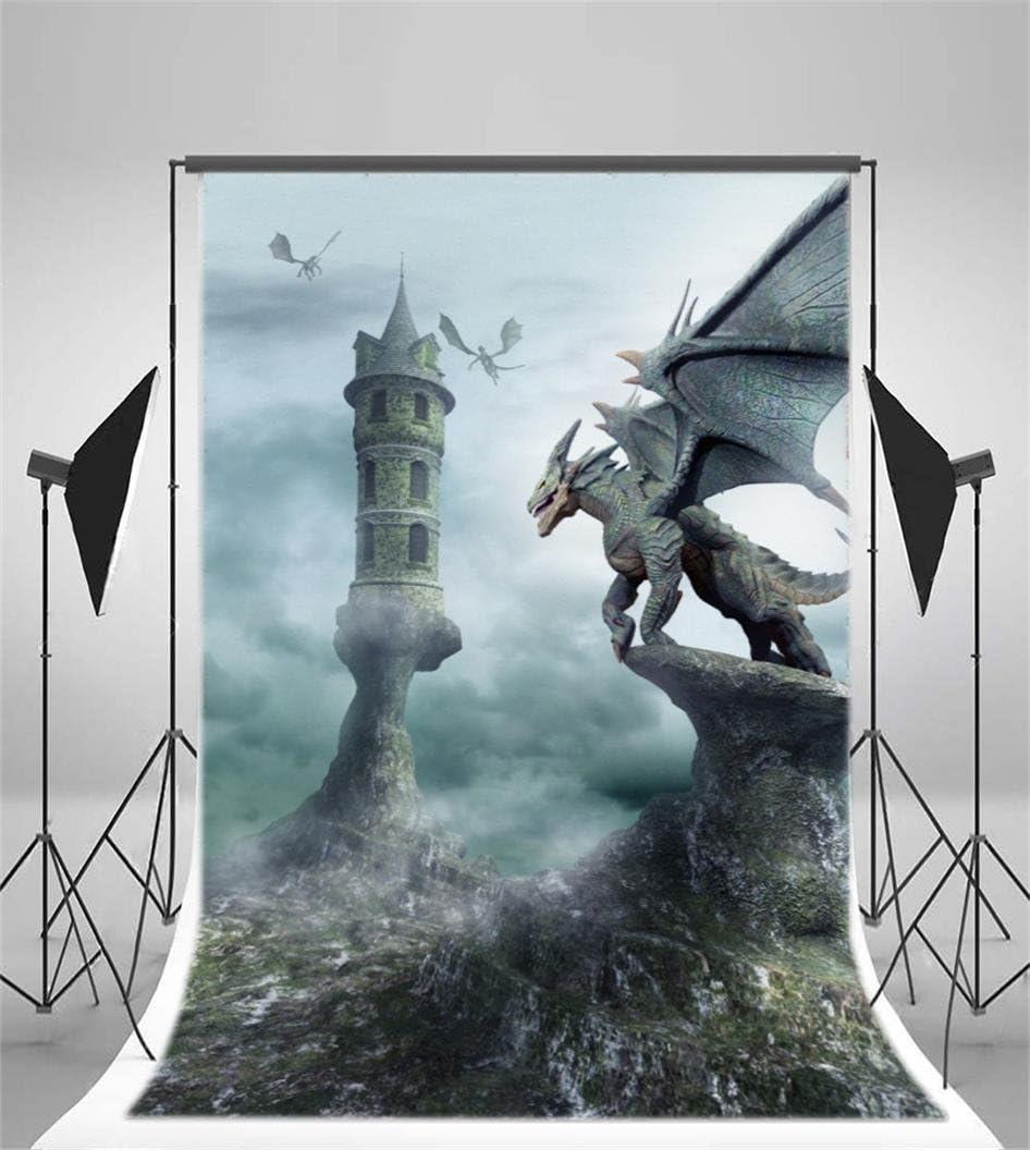 AOFOTO 3x5ft Tower Guarded by Dragons Backdrop Fantastic Photography Background Boy Kid Artistic Portrait Imaginary Scene Photo Shoot Studio Props Video Drop Vinyl Wallpaper Drape