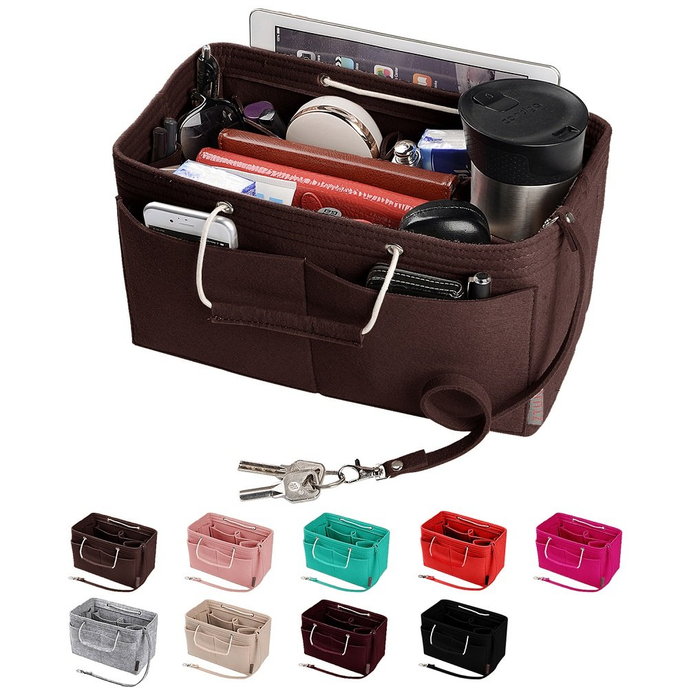 Purse Organizer, Multi-Pocket Felt Handbag Organizer, Purse Insert Organizer with Handles, Medium, Large (Medium, Coffee)