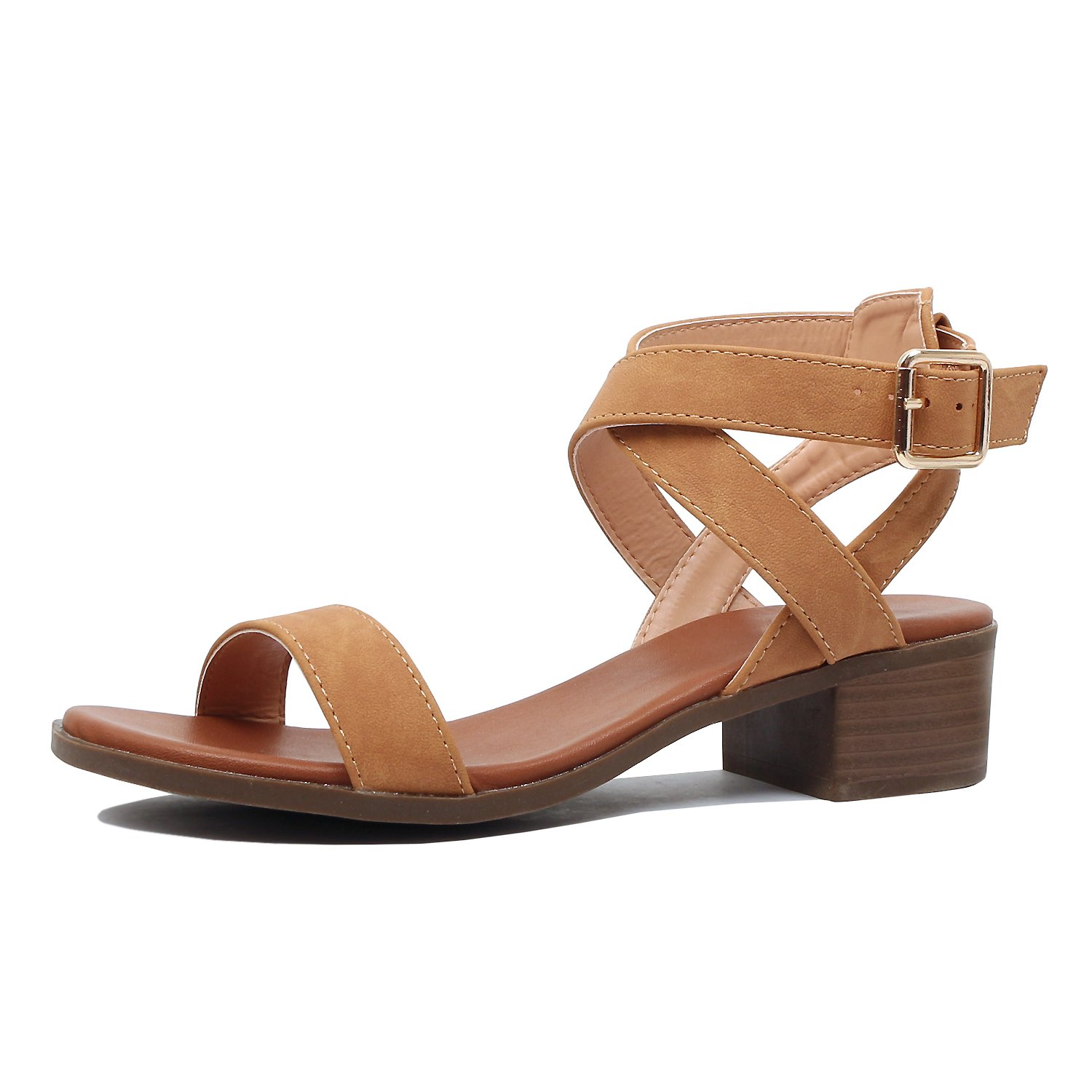Guilty Heart | Womens Comfortable Chunky Block Ankle Strap | Open Toe Heeled Walking Sandals (9 B(M) US, Tanv6 Pu)