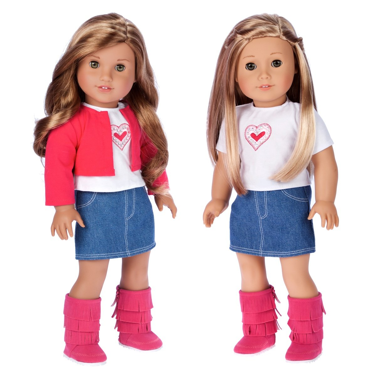642b9ea921 Amazon.com: Fuchsia Heart - 4 Piece Outfit - Fuchsia Jacket, t-Shirt, Denim  Skirt and Boots - 18 inch Doll Clothes (Doll not Included): Toys & Games