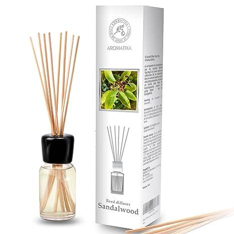 Raumduft Diffusor Öle Sandelholz 100ml - Set zum Aromatisieren mit Rattanstäbchen - Rein Ätherischen Sandelholz Öl - 0% Alkoh