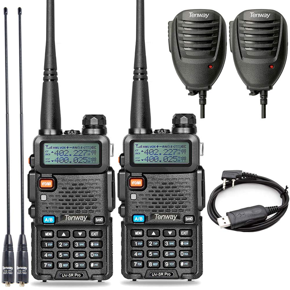 Walkie Talkie UV-5R Pro 8-Watt Dual Band Two Way Radio with Ham Radio Handheld Speaker Mic and NA-771 Antenna 2Pack and One USB Programming Cable by Tenway