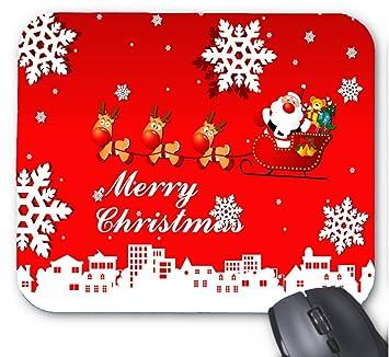 perfecone Reno del Paseo de Papá Noel Que Vuela Sobre la Feliz Navidad Alfombrilla De Ratón