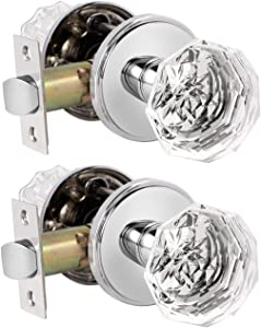 2 Pack Gobrico Crystal Door Knobs Diamond Glass Hall/Closet Passage Door Locksets Octagon Shape in Polished Chrome with Classic Round Rosette