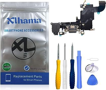 Xlhama - Conector Dock de Repuesto para iPhone 6S (Negro) con Jack de Audio para micrófono y Antena preinstalada, Incluye Kit de Herramientas de ...