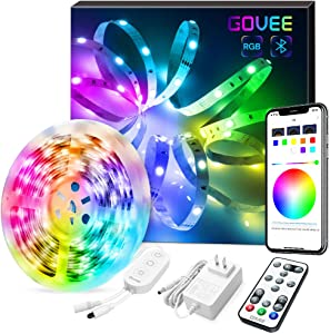 LED Strip Lights, Govee Color Changing 16.4FT Bluetooth Lights Strip, App Control, Remote, Control Box LED Music Lights, 7 Scenes Mode RGB LED Lights for Bedroom, Kitchen, Party, 3 Way Control