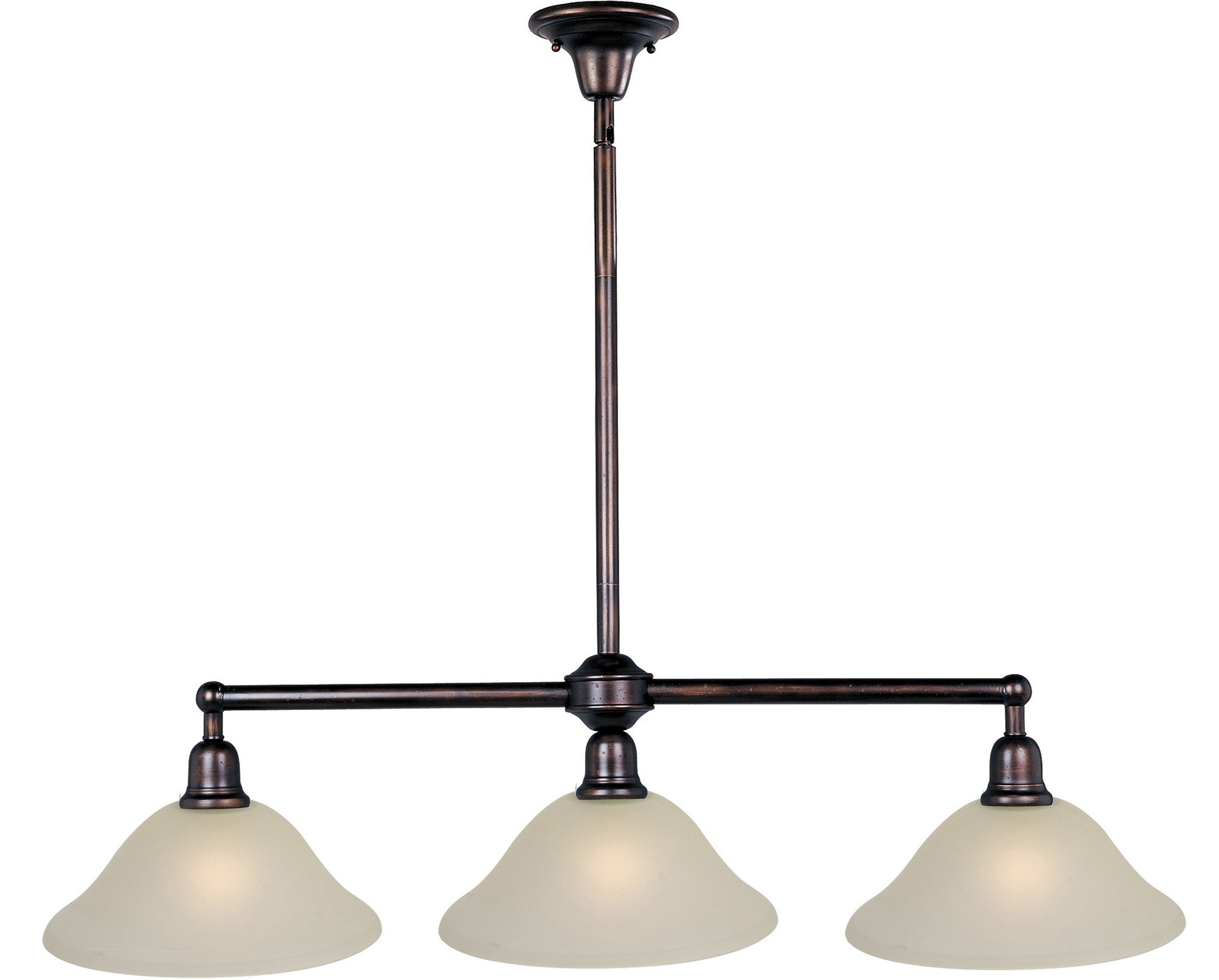 Maxim 11093SVOI Bel Air 3-Light Pendant, Oil Rubbed Bronze Finish, Soft Vanilla Glass, MB Incandescent Incandescent Bulb , 60W Max., Dry Safety Rating, Metal Shade Material, Rated Lumens