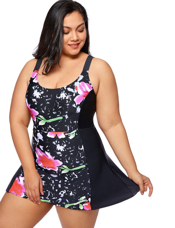 Delimira - Bañador con Falda Traje de baño de Una Pieza Plus Talla Para Mujer product