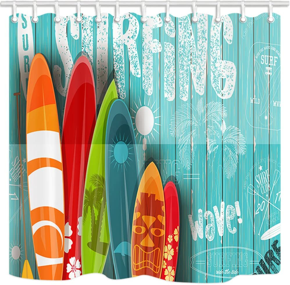 NYMB 3D Digital Printing Summer Surfing Shower Curtain, Surfboard in Vintage Style on Turquoise Wooden Fabric Shower Curtains, Bathroom Decorations, Bath Curtains Hooks Included, (69X70in)