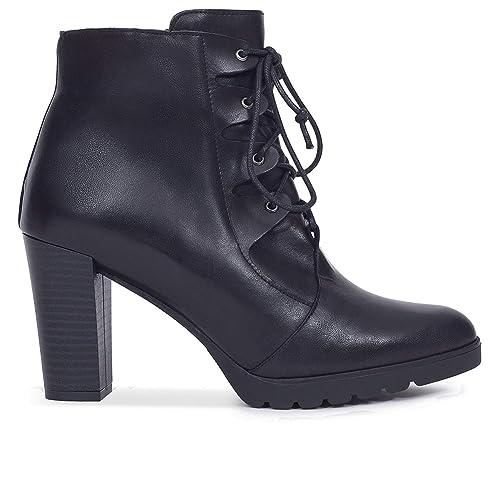 Cordones - Botín Mujer con tacón Negro: Amazon.es: Zapatos y complementos