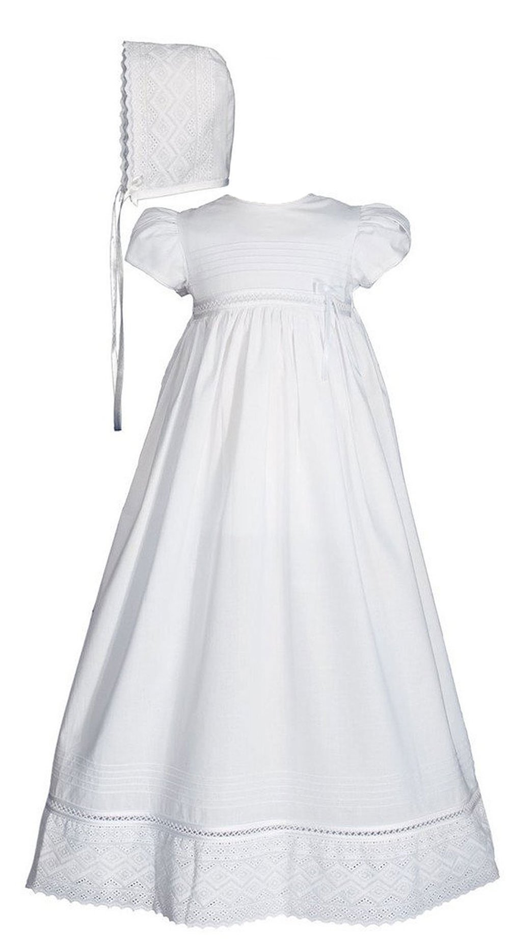 30'' Girls White Cotton Dress Christening Gown Baptism Gown with Lace 3M