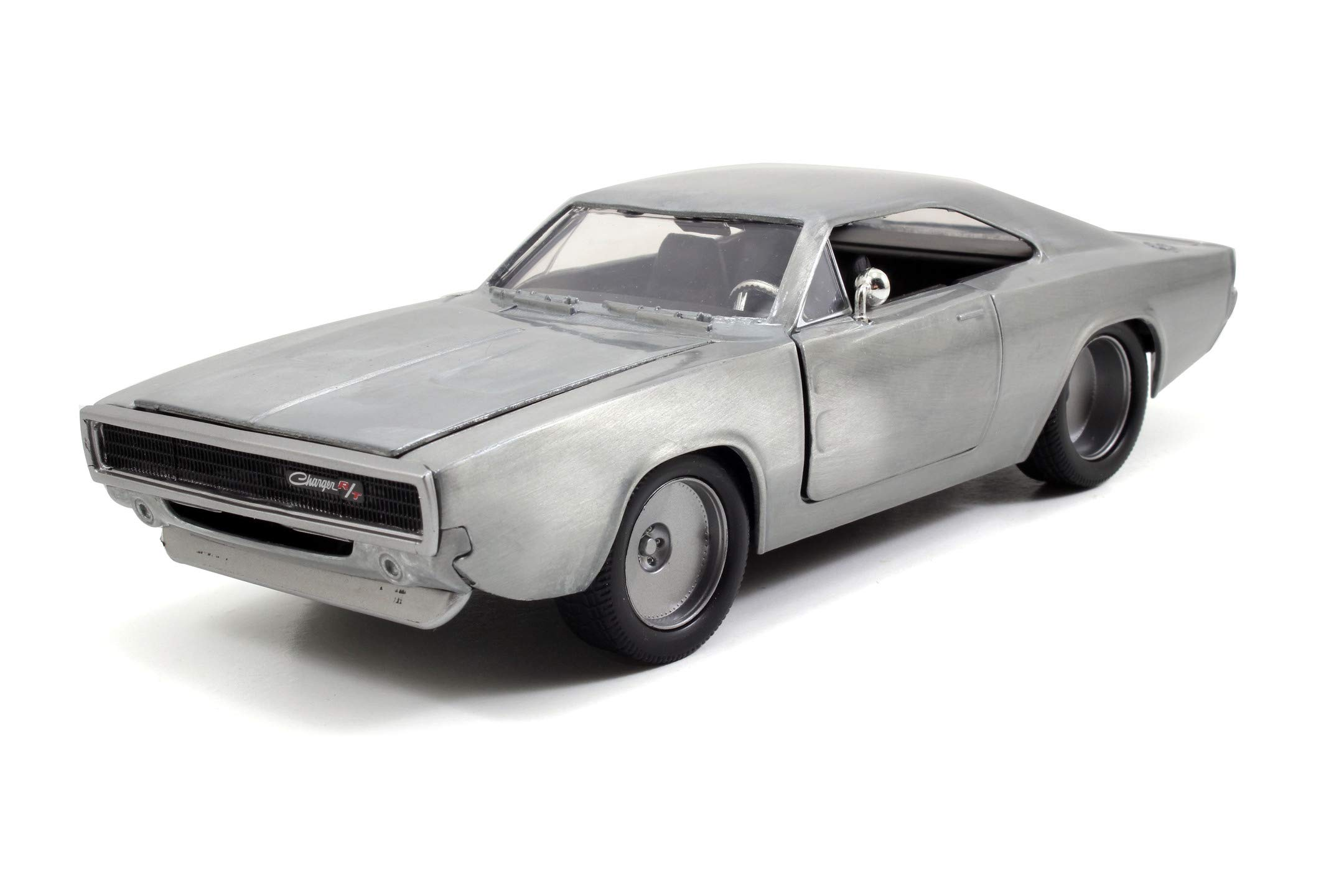 Fast & Furious 1:24 Dom's 1968 Dodge Charger R/T Die-cast Car Bare Metal, Toys for Kids and Adults, 97336
