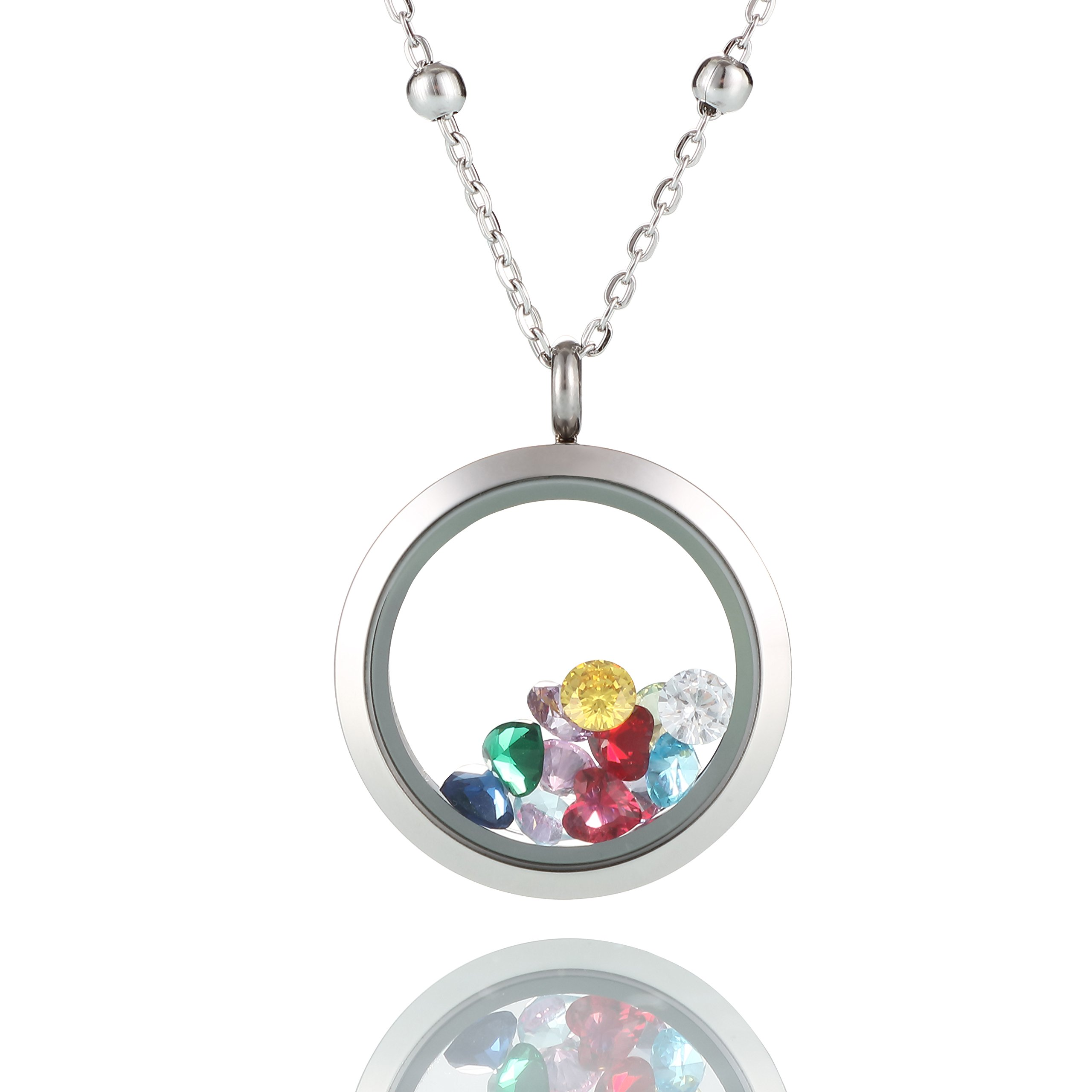 Dream Lassie Living Memory Floating Charm Locket Pendant Necklace for Girls Womens Stainless Steel Toughened Glass Chain and Zircon Include