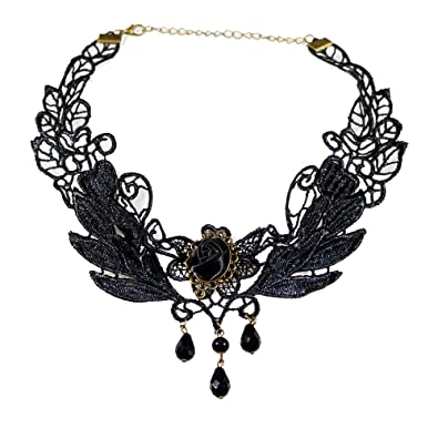 Amazon yazilind black rose flower lace gothic lolita beads yazilind black rose flower lace gothic lolita beads pendant choker necklace 1287in aloadofball
