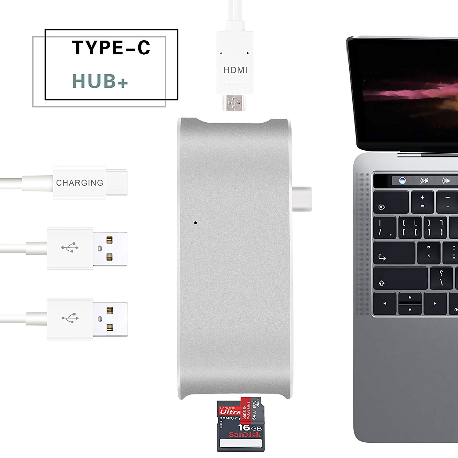 USB C Hub, Sunteck Type C Adapter 4k HDMI, SD + Micro Card Reader and 2 USB 3.0 Ports for MacBook 2017/2016, MacBook Pro 2017/2016, Google Chromebook, Dell XPS, Lenovo Yoga and More Type C Devices