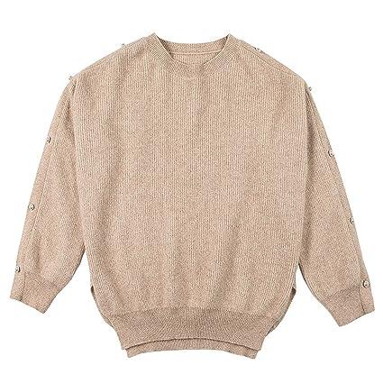 Blusa corta de mujer de moda suéter de invierno (Color : Solid color , Tamaño