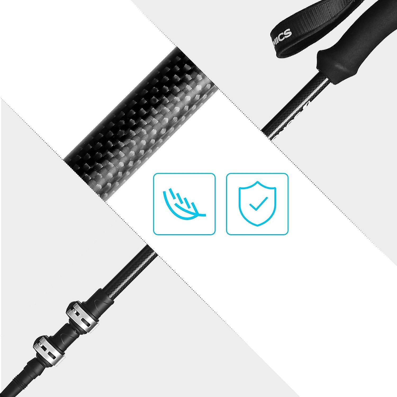 con Cierre r/ápido de Aluminio y Bolsa de Transporte Ultraligeros Negro SAS70BK Telesc/ópicos SONGMICS Bastones para Senderismo Silenciosos Bastones de Trekking de 100/% Fibra de Carbono