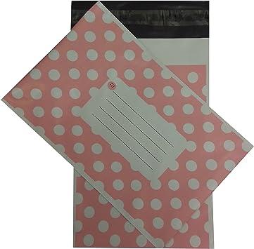 Pink, 12 x 16 50PCS Polka Dot Mailing Postal Bags Strong Plastic Polythene Self Seal Packing Packaging Postage Mail Sacks Envelopes 305mmX 406mm