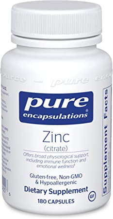 Pure Encapsulations Zinc (Citrate) | Supplement to Support Immune System, Reproductive Health, and Tissue Development and Repair* | 180 Capsules